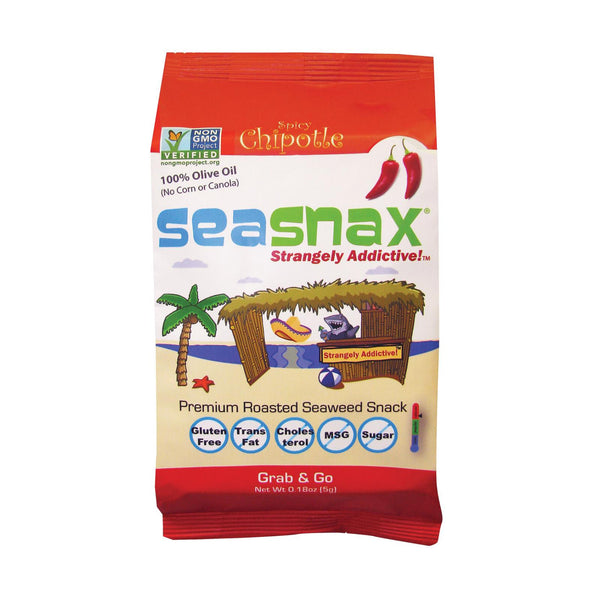 Seasnax Organic Premium Roasted Seaweed Snack - Chipotle - Case Of 24 - 0.18 Oz.