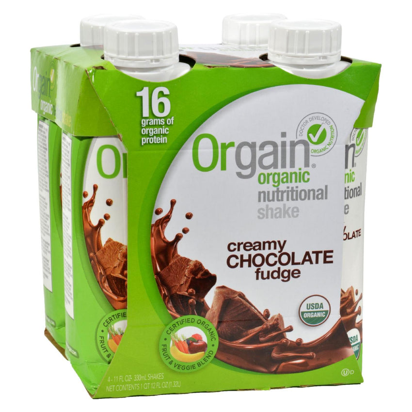 Orgain Organic Nutrition Shake - Chocolate Fudge - 11 Fl Oz - Case Of 12
