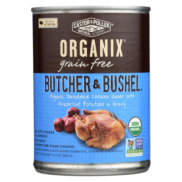 Castor And Pollux Organic Butcher And Bushel Dog Food - Shredded Chicken - Case Of 12 - 12.7 Oz.