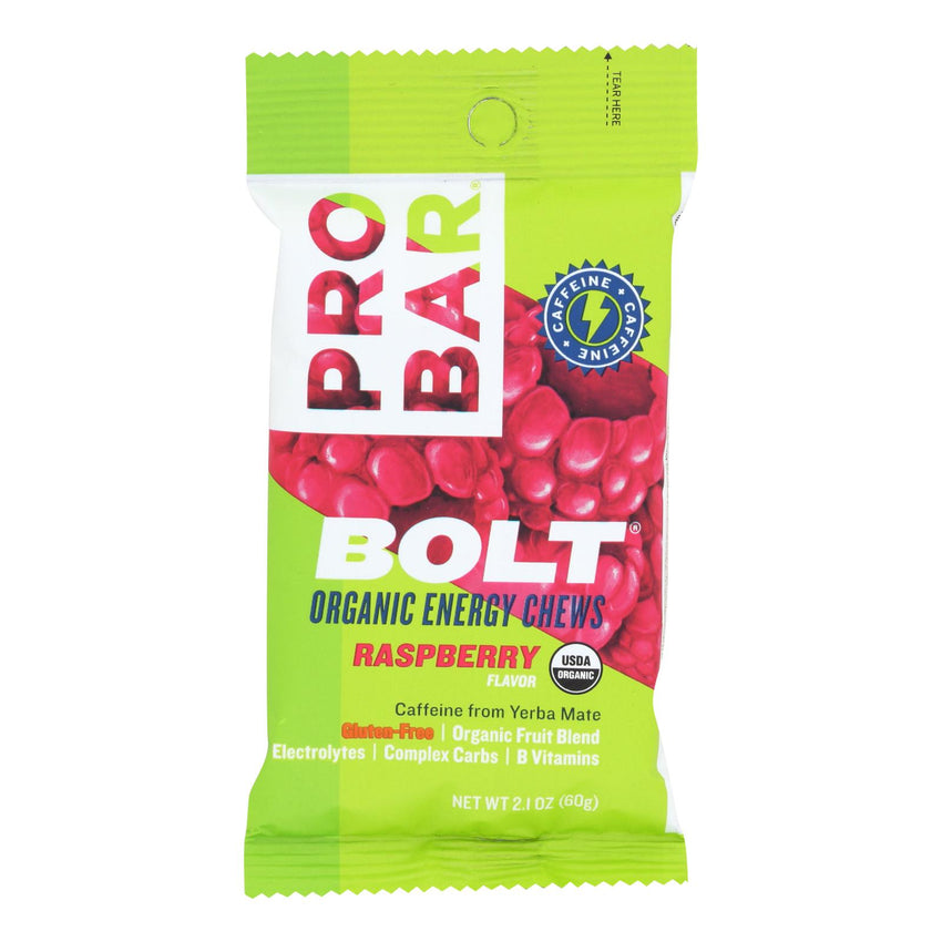 Probar Bolt Energy Chews - Organic Raspberry - 2.1 Oz - Case Of 12