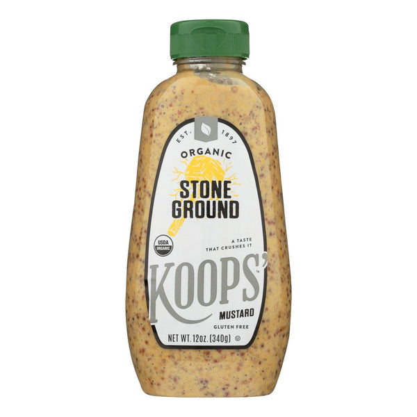 Koops' Organic Mustard: Stone Ground Gluten Free - Case Of 12 - 12 Oz