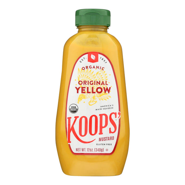 Koops' Organic Mustard: Yellow Gluten Free - Case Of 12 - 12 Oz