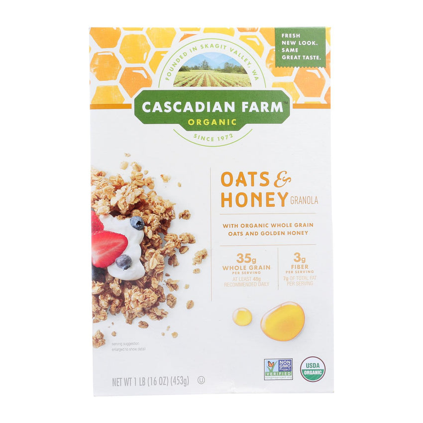 Cascadian Farm Organic Granola Cereal - Oats And Honey - Case Of 6 - 16 Oz