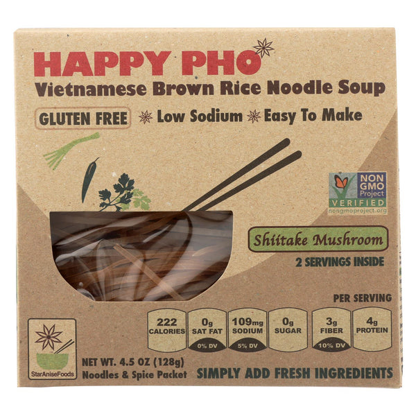 Star Anise Foods Soup - Brown Rice Noodle - Vietnamese - Happy Pho - Shiitake Mushroom - 4.5 Oz - Case Of 6