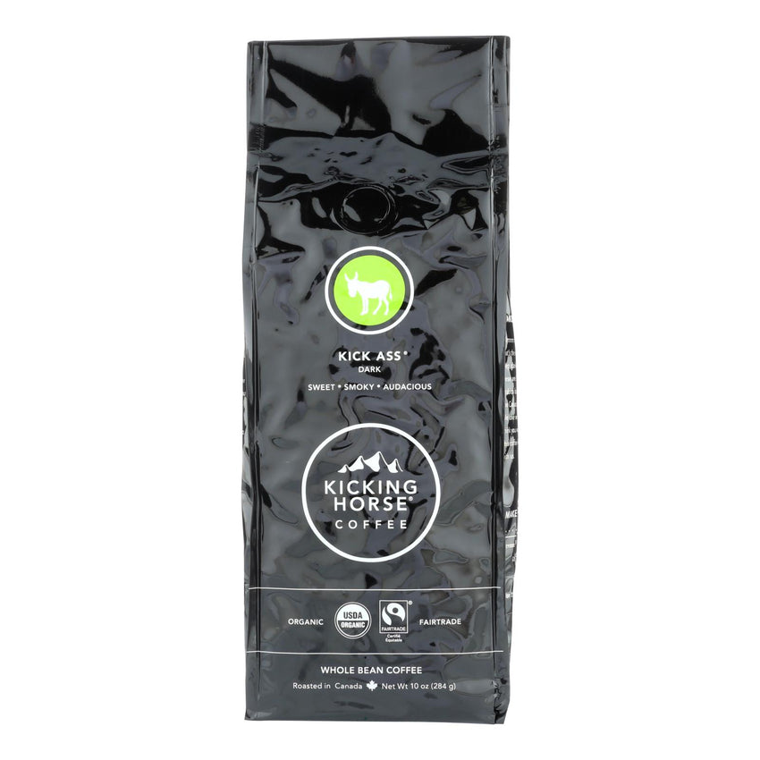 Kicking Horse Coffee - Organic - Whole Bean - Kick Ass - Dark Roast - 10 Oz - Case Of 6