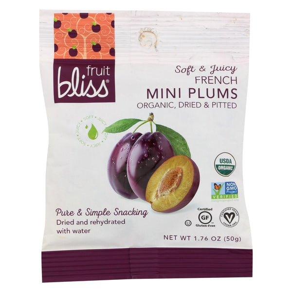 Fruit Bliss - Organic Dried Plums - French Agen - Mini - 1.76 Oz. - Case Of 12