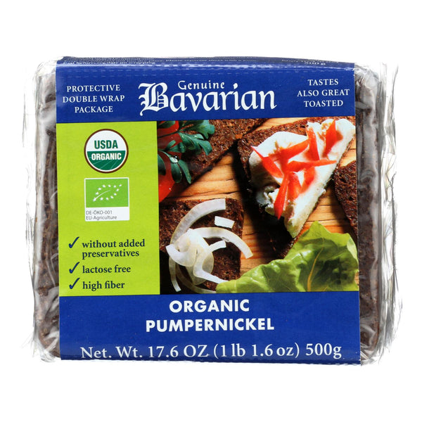 Genuine Bavarian Organic Bread - Pumpernickel - Case Of 6 - 17.6 Oz.