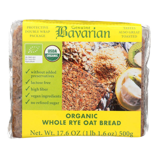 Genuine Bavarian Organic Bread - Whole Rye Oat - Case Of 6 - 17.6 Oz