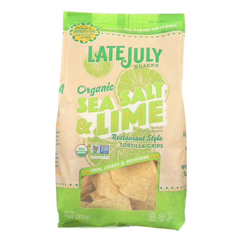 Late July Snacks Organic Tortilla Chips - Classic Rich - Case Of 9 - 11 Oz.