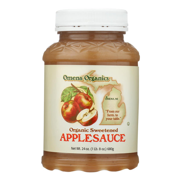 Omena Organics Apple Sauce - Organic - Sweetned - Case Of 12 - 24 Oz