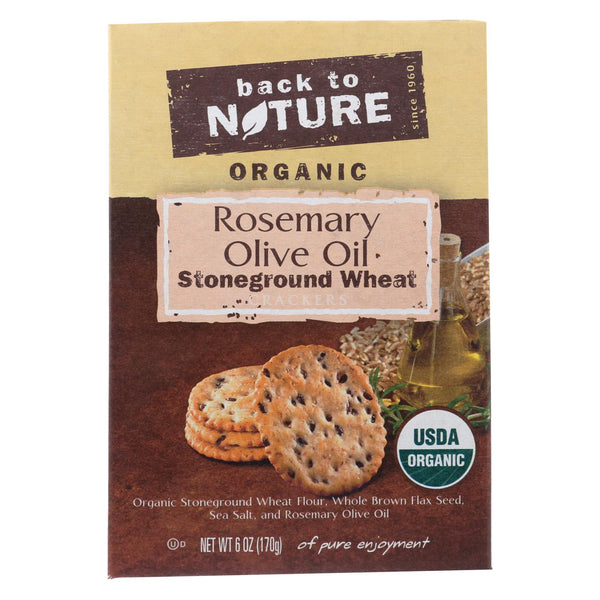 Back To Nature Crackers - Rosemary And Olive Oil Stoneground Wheat - Case Of 6 - 6 Oz.