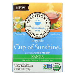 Traditional Medicinals Relaxation Teas Organic Cup Of Sunshine Kanna Herbal Tea  - Case Of 6 - 16 Bag