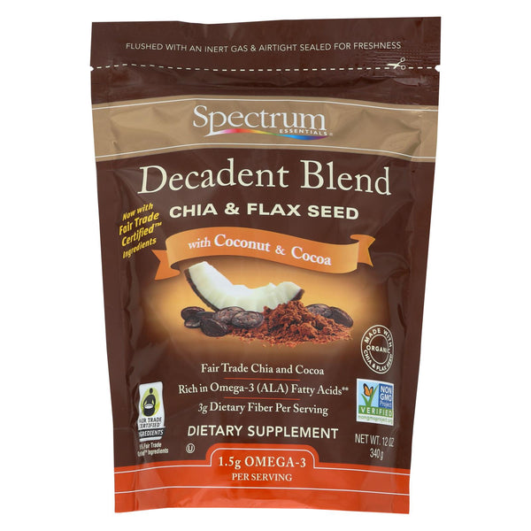 Spectrum Essentials Organic Decadent Blend - Chia And Flax Seed With Coconut And Cocoa - 12 Oz