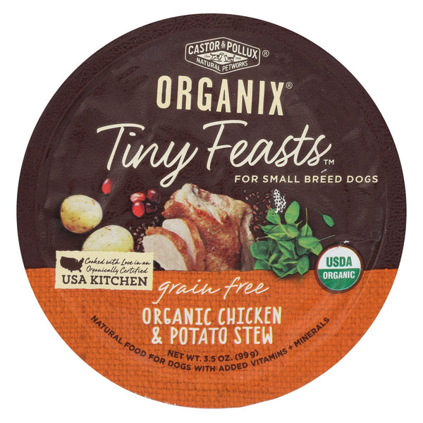 Castor And Pollux Dog - Organic - Tiny Feasts - Chicken - Case Of 12 - 3.5 Oz