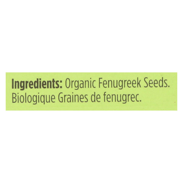 Spicely Organics - Organic Fenugreek Seeds - Case Of 6 - 0.45 Oz.