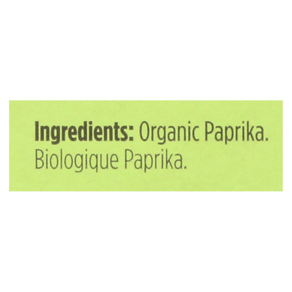 Spicely Organics - Organic Paprika - Case Of 6 - 0.45 Oz.