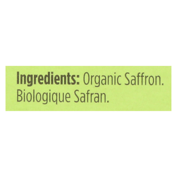 Spicely Organics - Organic Saffron - Case Of 6 - 0.007 Oz.