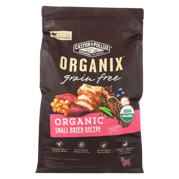 Castor And Pollux - Organix Grain Free Dry Dog Food - Small Breed Recipe - Cs Of 1-10 Lb.