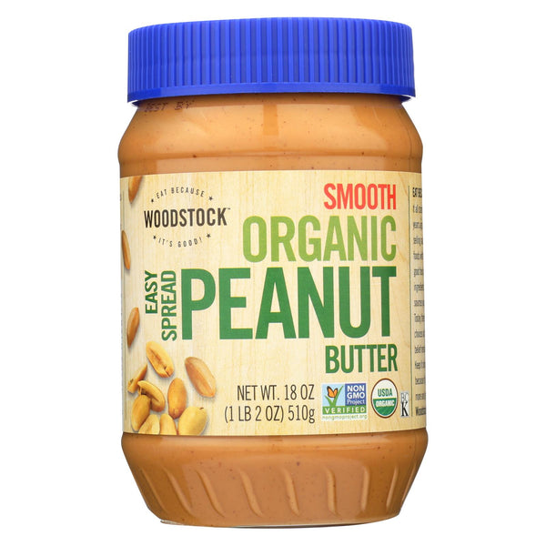 Woodstock Organic Easy Spread Peanut Butter - Smooth - 18 Oz.