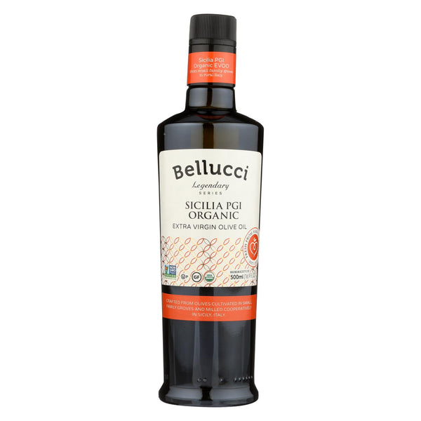 Bellucci Premium Olive Oil - Extra Virgin Sicilia Pgi Organic - Case Of 6 - 500 Ml