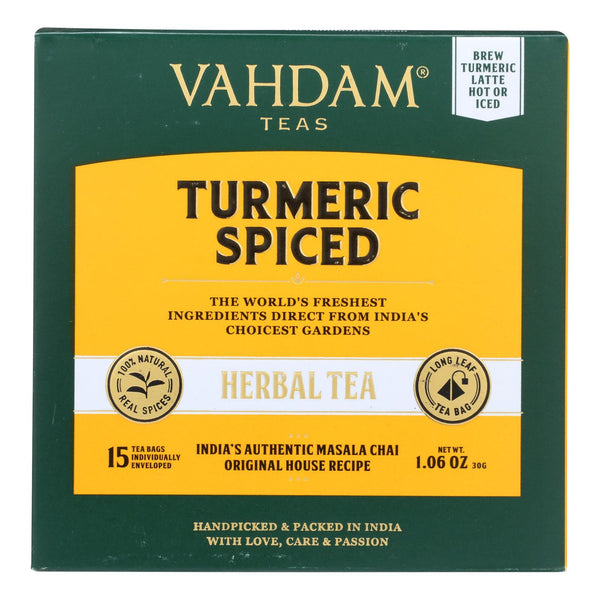 Vahdam Teas - Hrbl Tea Organic Turmeric Spice - Case Of 6 - 15 Bag
