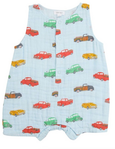Vintage Trucks Shortie Romper Blue