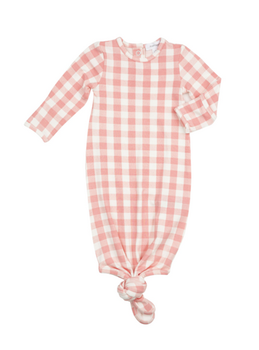 Gingham Knotted Gown Pink 0-3