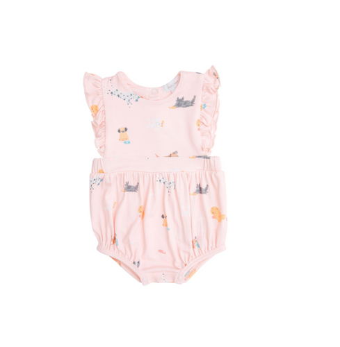 Puppy Pal Ruffle Sunsuit, Pink