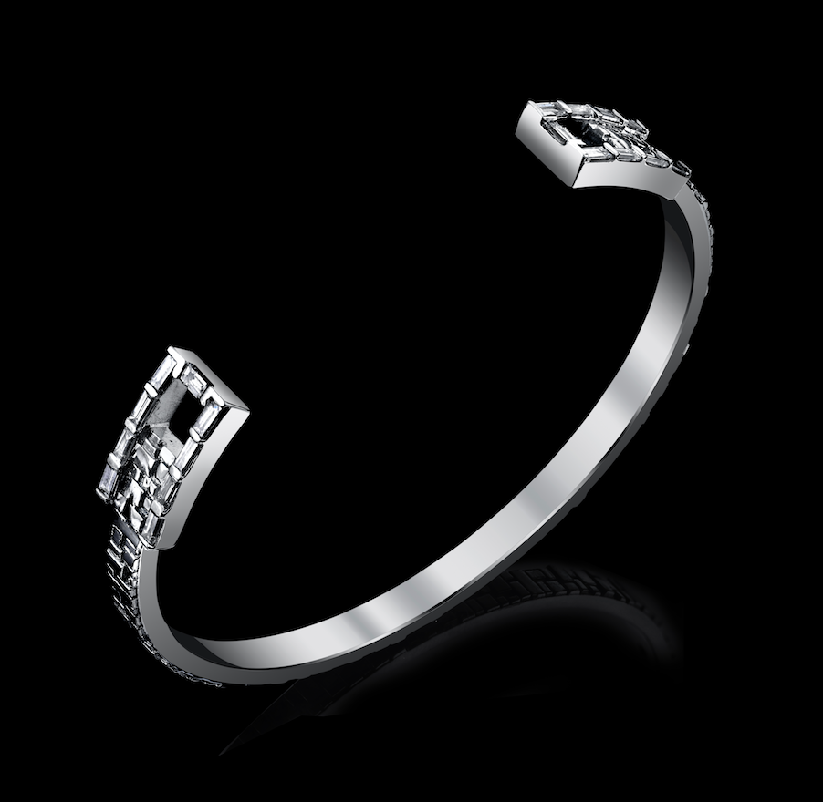 Signature Collection Cuff Bracelet with Baguette Cut Diamonds