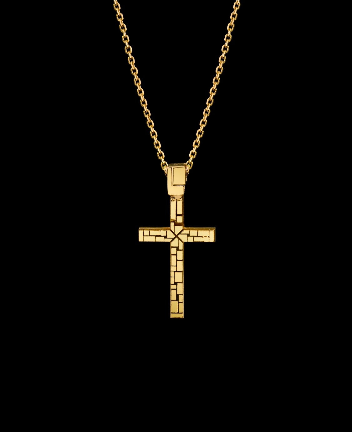 Signature Collection 10 Point Emerald Cut Small Cross Necklace