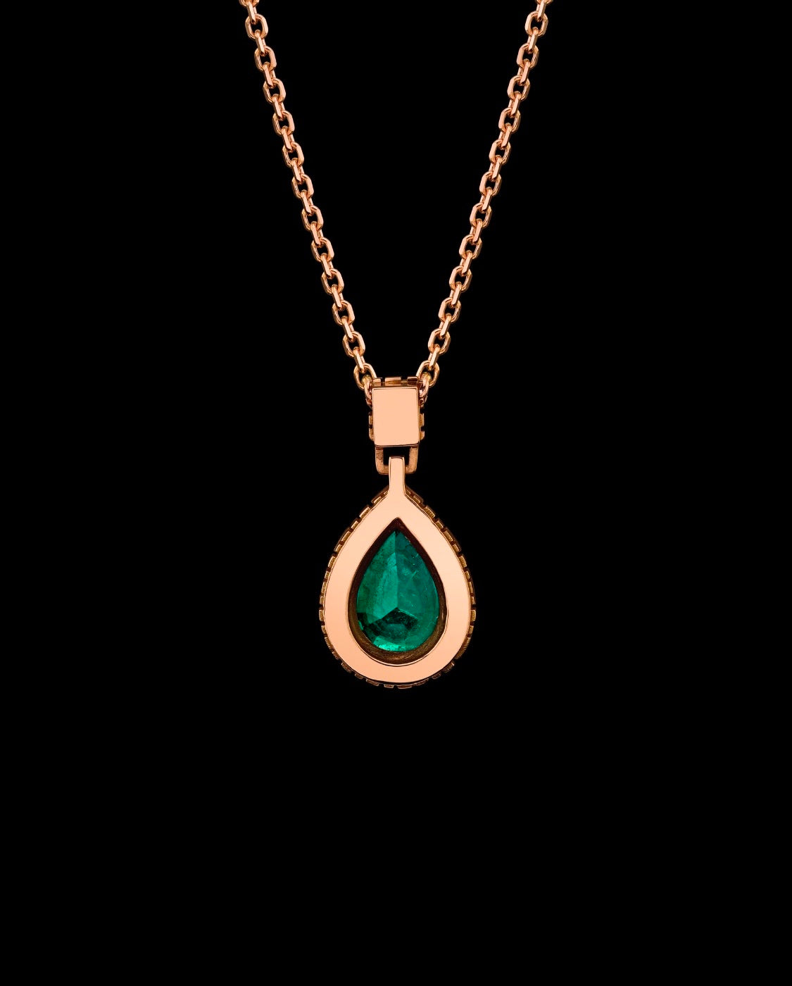 Metal Noir Natural Pear Shaped Emerald and Diamond Necklace