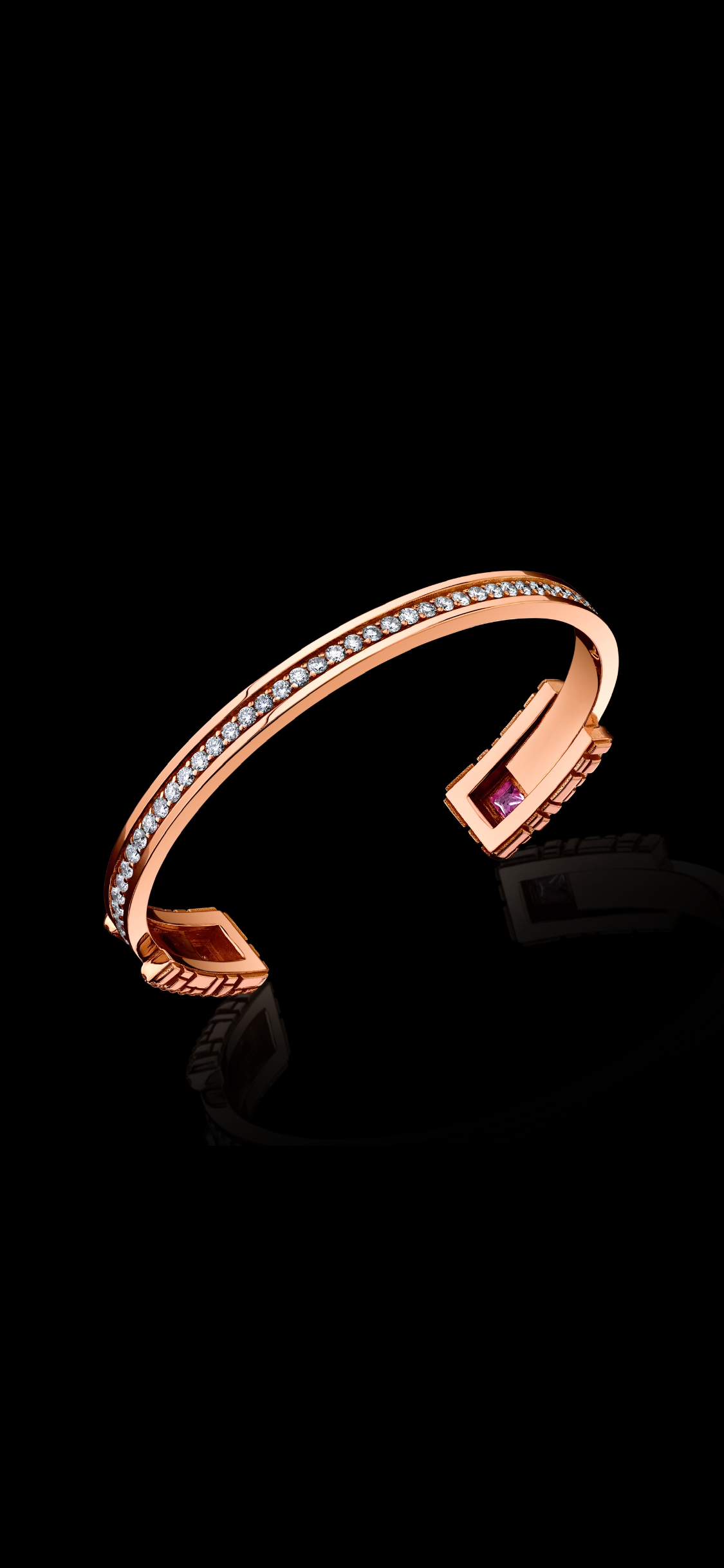 Signature Collection Cuff Bracelet with Diamonds + Pink Sapphires
