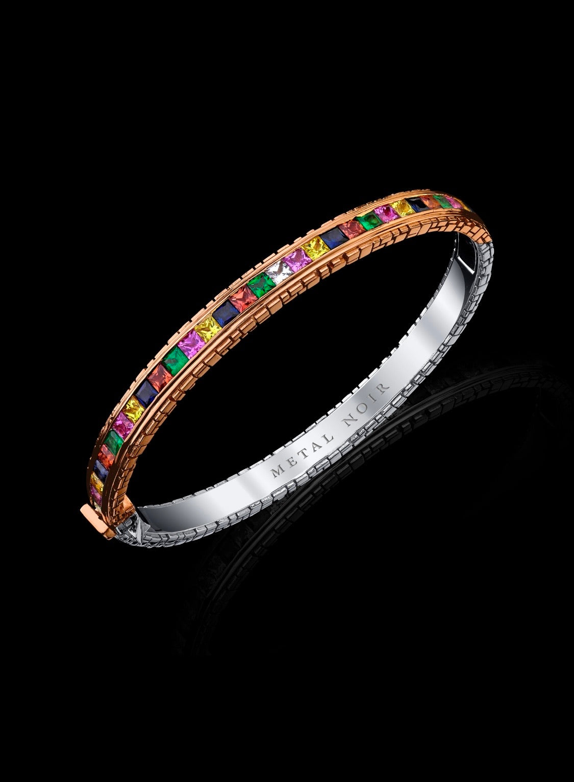 Signature Collection Two-Tone Eternity Bracelet with 20 Point Natural multi-color Sapphires and Diamonds