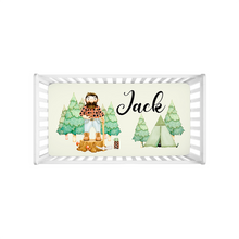 Load image into Gallery viewer, Jack Personalized Minky Crib Sheet, Lumberjack Nursery Bedding