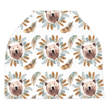 Load image into Gallery viewer, Grizzly Bear Face Car Seat Cover, Woodland Nursing Cover