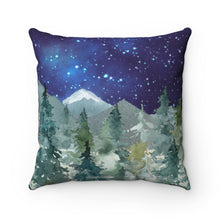 Load image into Gallery viewer, Dark Blue Sky Forest Pillow, Woodland Nursery Decor - Majestic Forest