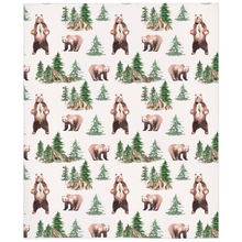 Load image into Gallery viewer, Bear and Trees Minky Blanket, Woodland Nursery Bedding - Grizzly Bear