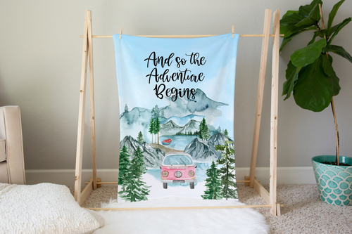 Little Explorer And so the Adventure Begins Minky Blanket, Camper Nursery Bedding