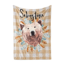 Load image into Gallery viewer, Tribal - BohoGrizzly Bear Face Personalized Minky Blanket, Woodland Nursery Bedding