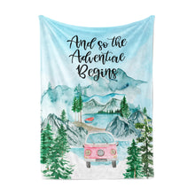 Load image into Gallery viewer, And so the Adventure Begins Minky Blanket, Camper Nursery Bedding - Little Explorer