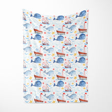 Load image into Gallery viewer, Blue Whale Minky Blanket, Nautical Nursery Bedding