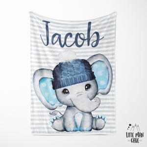 Personalized Name Minky Blanket, Elephant Nursery Bedding
