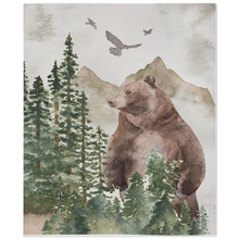Load image into Gallery viewer, Bear Minky Blanket, Woodland Nursery Bedding - Forest Mist