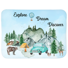 Load image into Gallery viewer, Explore Dream Discover Sherpa Blanket, Camper Nursery Bedding - Little Explorer