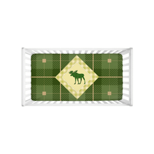 Load image into Gallery viewer, Green Plaid Moose Crib Sheet, Rustic Baby Bedding