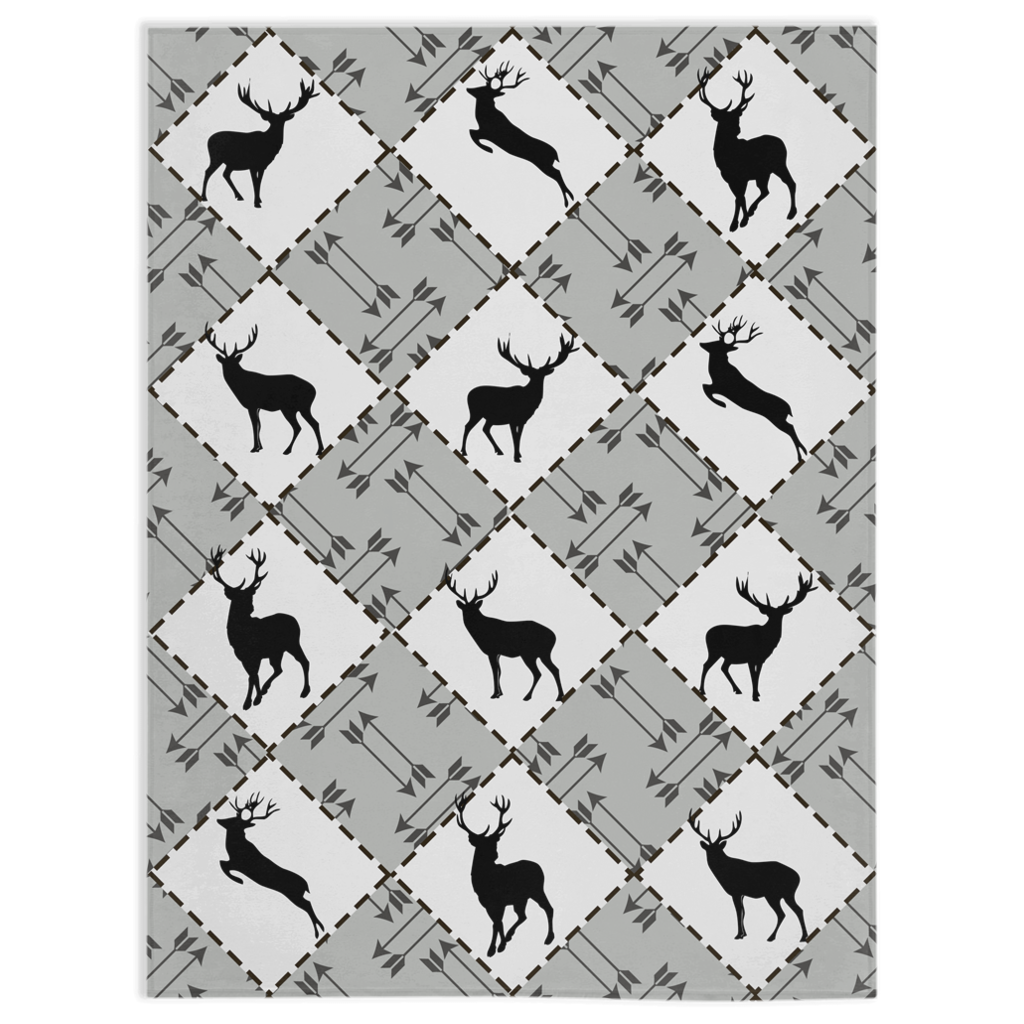 Black Deer and Arrows Minky Blanket, Rustic Nursery Bedding