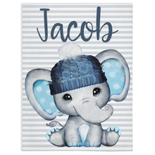 Load image into Gallery viewer, Personalized Name Minky Blanket, Elephant Nursery Bedding