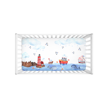 Load image into Gallery viewer, Blue Whale Minky Crib Sheet, Nautical Nursery Bedding