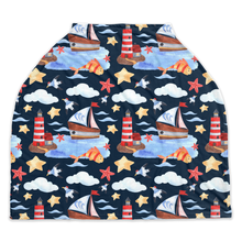 Load image into Gallery viewer, Blue Whale Car Seat Covers, Nautical Nursing Cover