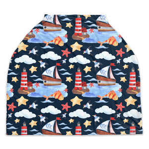 Blue Whale Car Seat Covers, Nautical Nursing Cover